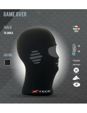 BALACLAVA / THERMAL UNDER-HELMET X TECH GAME OVER FROM +15 TO -10 COLOR BLACK...