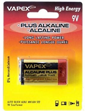 BATTERIA ALCALINE PLUS 9V VAPEX [VP9V]