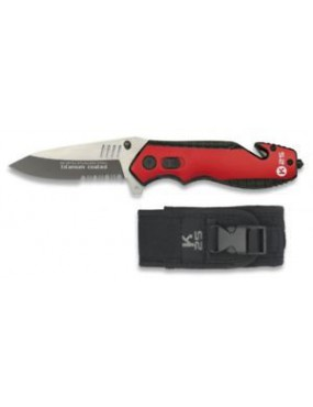 FOLDING KNIFE 19704 K25 RED WITH CASE [19704]