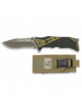 TACTICAL FOLDING KNIFE 19655 K25 GREEN AND BLACK [19655]