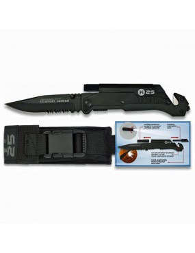 FOLDING KNIFE 19265 TACTICAL BLACK K25 WITH PACKAGING AND ACCESSORIES [19265]