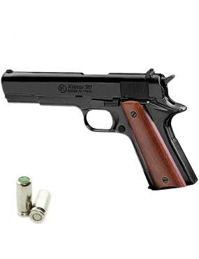 BLANK PISTOL 1911 CAL. 8 MM BLACK / WOOD SINGLE AND DOUBLE ACTION [420.086]