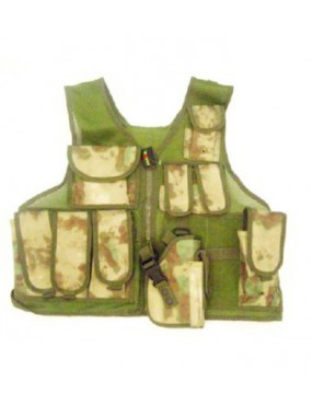 ATACS GREEN TACTICAL VEST WITH 10 POCKETS AND HOLSTER [06557AG]