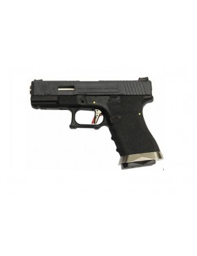 PISTOLA A GAS WE S19 G-FORCE BLOWBACK T5  6mm NERA E ARGENTO [7734]