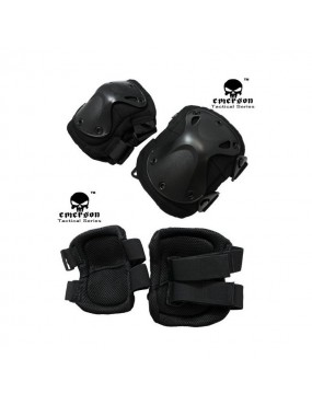 AIRSOFT KIT KNEE + ELBOW TACTICAL PAD BLACK - EMERSON [EM7051 BK]