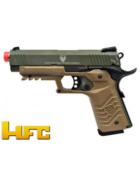 GAS PISTOL HFC 1911 BLOWBACK FULL METAL GREEN - TAN [HG 171G]