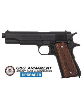 PISTOLA A GAS G&G GPM 1911 FULL METAL SCARRELLANTE NERA - LEGNO [GG-M1911]
