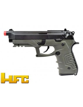 GAS PISTOL HFC B92SF TACTICAL GRIP BLOWBACK FULL METAL GREEN [HG 173G]