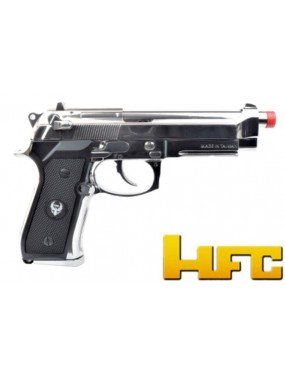 GAS PISTOL HFC B92SF BLOWBACK FULL METAL BLACK - SILVER [HG 194BS]