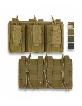 TRIPLE BARBARIC MAGAZINE POUCH WITH MOLLE ATTACK COLOR GREEN 600D [34902-VE]