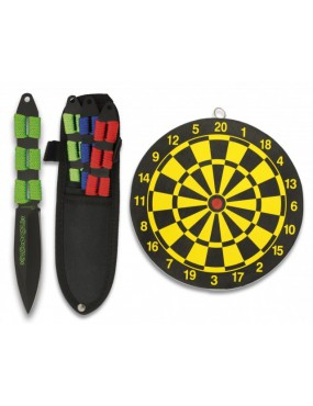 SET OF 3 THROWING KNIVES ROPE HANDLE + TARGET [32212]