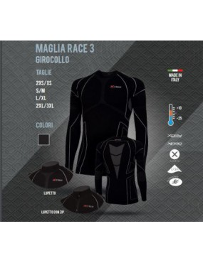 THERMAL SHIRT X TECH RACE 3 ROUND NECK FROM +10 TO -25 COLOR BLACK L / XL
