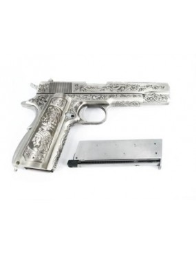 PISTOLA 1911 WE A GAS MEXICAN DRUGLORD SILVER CLASSIC FLORAL PATTERN [7712]