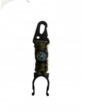 BOTTLE HOLDER IN PARACORD WITH GREEN COMPASS [33896-VE]