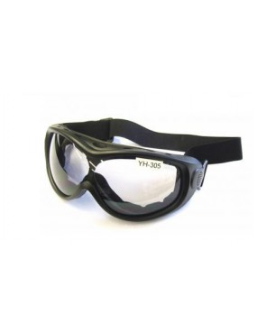 SPORT ROUND BLACK MASK WITH PLEXYGLASS LENS [YH305]