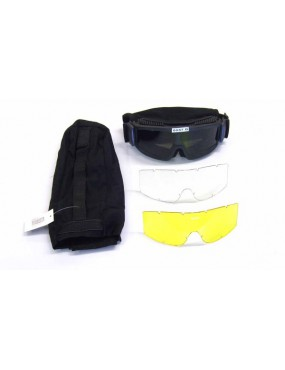 REINFORCED SNOW GOGGLE WITH NEUTRAL, BLACK, YELLOW LENS [6057B]