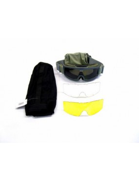 GREEN REINFORCED SNOW GOGGLE WITH NEUTRAL, BLACK, YELLOW LENS [6057V]